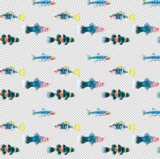 手绘水彩深海鱼背景图案