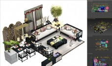 新中式 沙发屏风