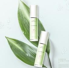 清新 背景 植物 化妆品 防晒
