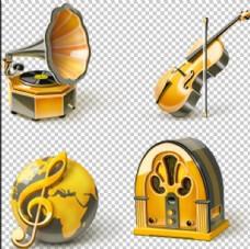 4个乐器PNG免扣素材