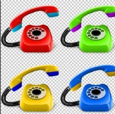 4色老式电话PNG复古免扣素材