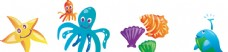 海洋 螃蟹 海豚 海草 卡通背