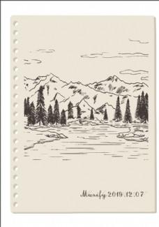 雪山湖泊素描画