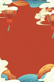 春节新年红色手绘中国风背景