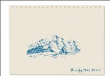 雪山素描画