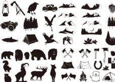 黑白手绘线稿矢量日出山脉与树林