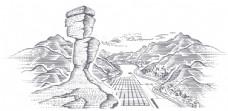 梵净山标志景色插画