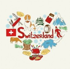 瑞士旅游手绘元素