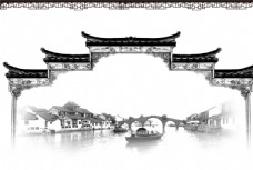水墨中国风建筑图片素材