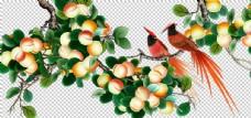 桃子树小鸟工笔素材