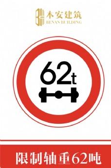 限制轴重62吨交通安全标识
