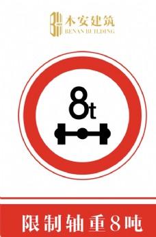 限制轴重8吨交通安全标识