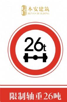 限制轴重26吨交通安全标识