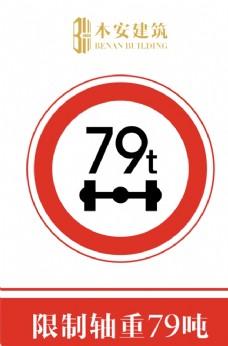 限制轴重79吨交通安全标识