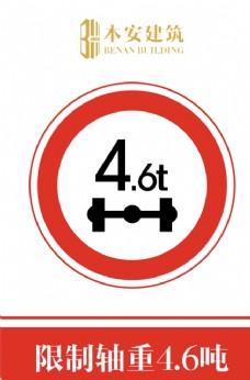 限制轴重4.6吨交通安全标识