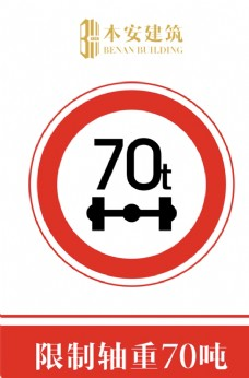 限制轴重70吨交通安全标识