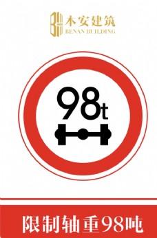 限制轴重98吨交通安全标识