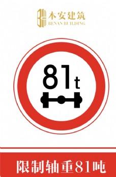 限制轴重81吨交通安全标识