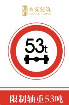 限制轴重53吨交通安全标识