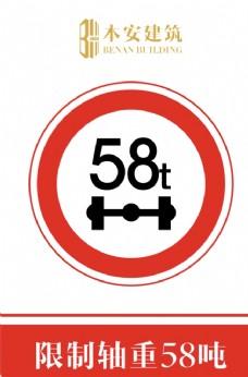 限制轴重58吨交通安全标识
