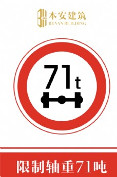 限制轴重71吨交通安全标识