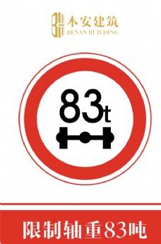 限制轴重83吨交通安全标识