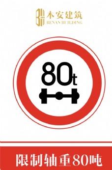 限制轴重80吨交通安全标识