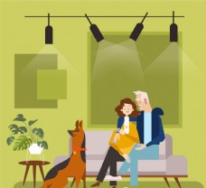 创意客厅里的夫妇和宠物狗