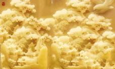 花鸟树木玉雕电视背景墙